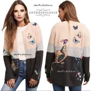NWT Anthropologie embroidered peacock cardigan